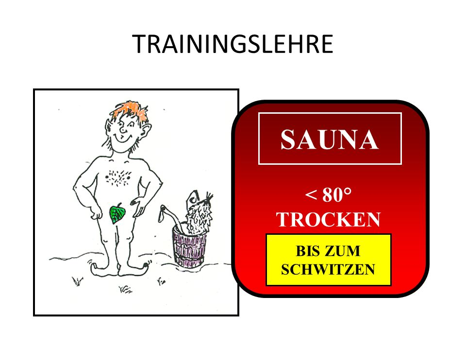 TRAININGSLEHRE SAUNA < 80° TROCKEN BIS ZUM SCHWITZEN