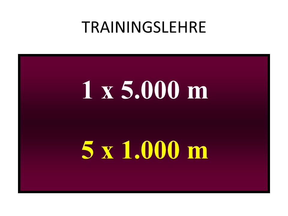 TRAININGSLEHRE 1 x 5.000 m 5 x 1.000 m