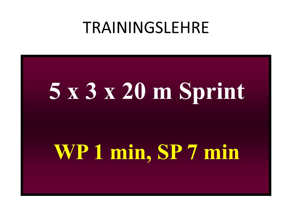 TRAININGSLEHRE 5 x 3 x 20 m Sprint WP 1 min, SP 7 min