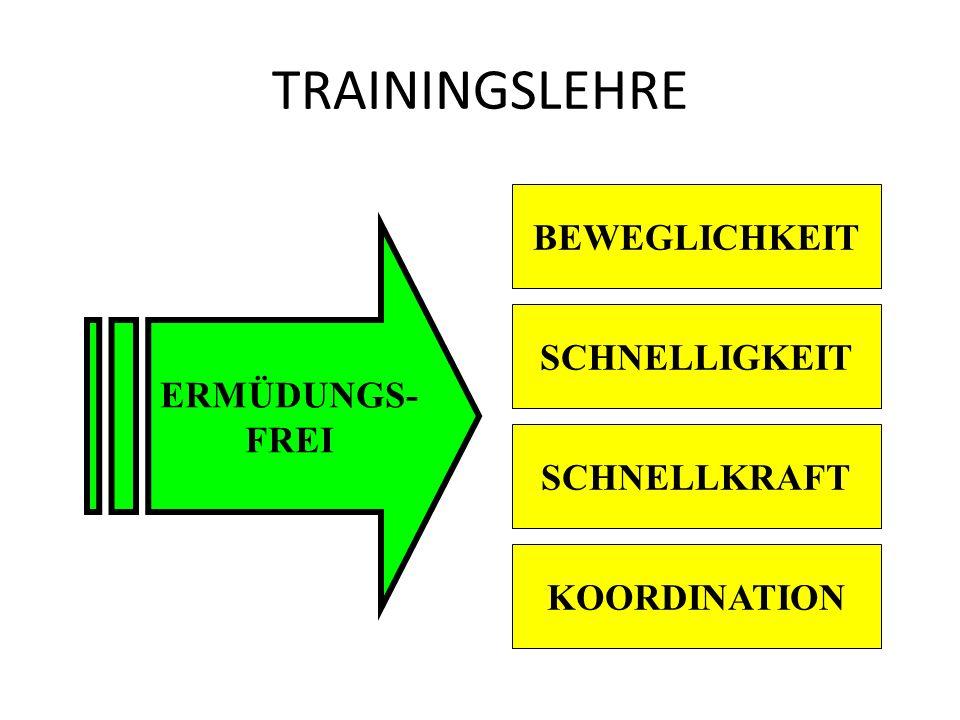 TRAININGSLEHRE BEWEGLICHKEIT ERMÜDUNGS- FREI SCHNELLIGKEIT