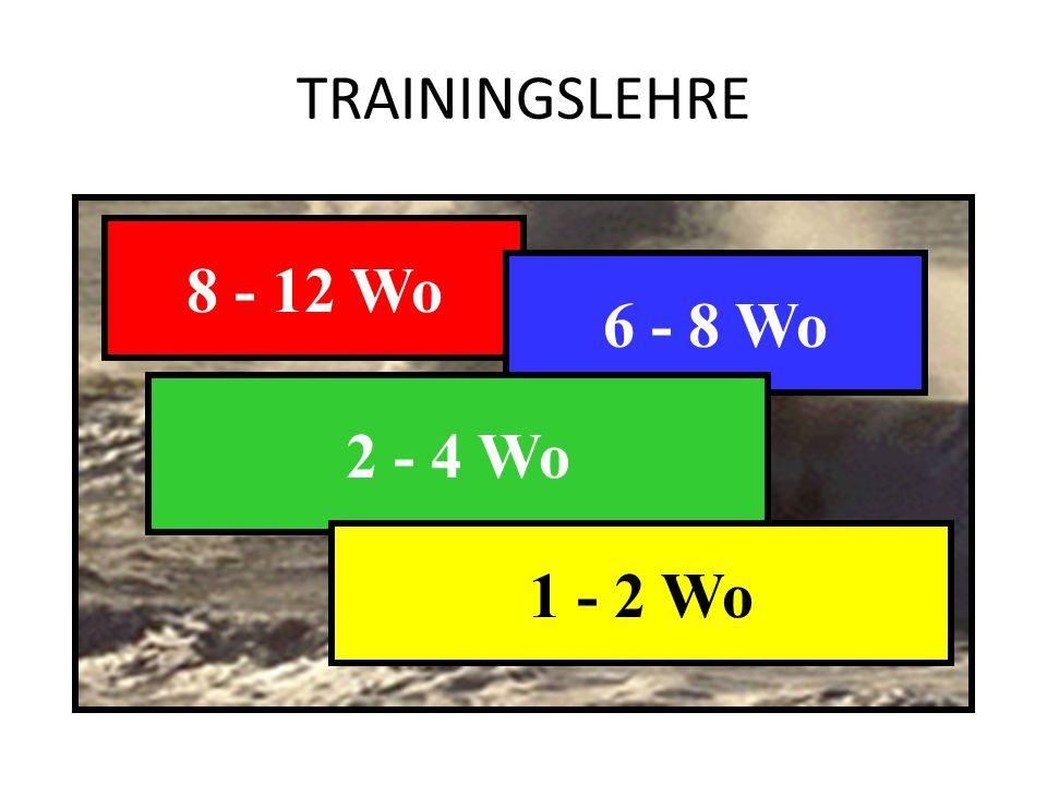 TRAININGSLEHRE 8 - 12 Wo AUSDAUER KRAFT 6 - 8 Wo 2 - 4 Wo BEWEGLICHKEIT 1 - 2 Wo KOORDINATION