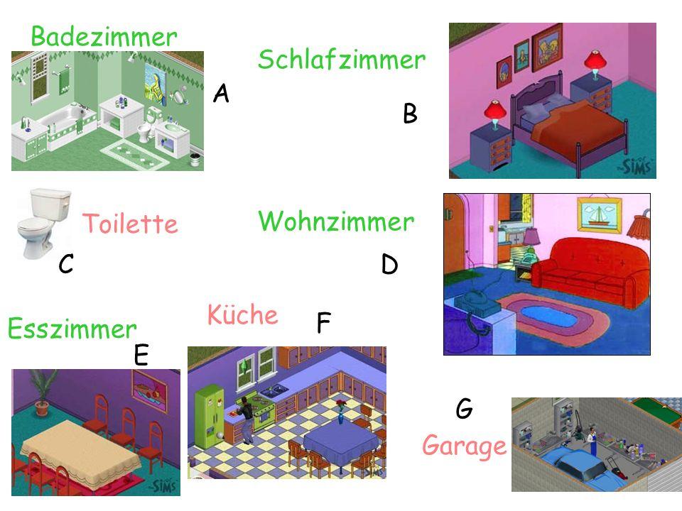Badezimmer Schlafzimmer A B Toilette Wohnzimmer C D Küche F Esszimmer E G Garage