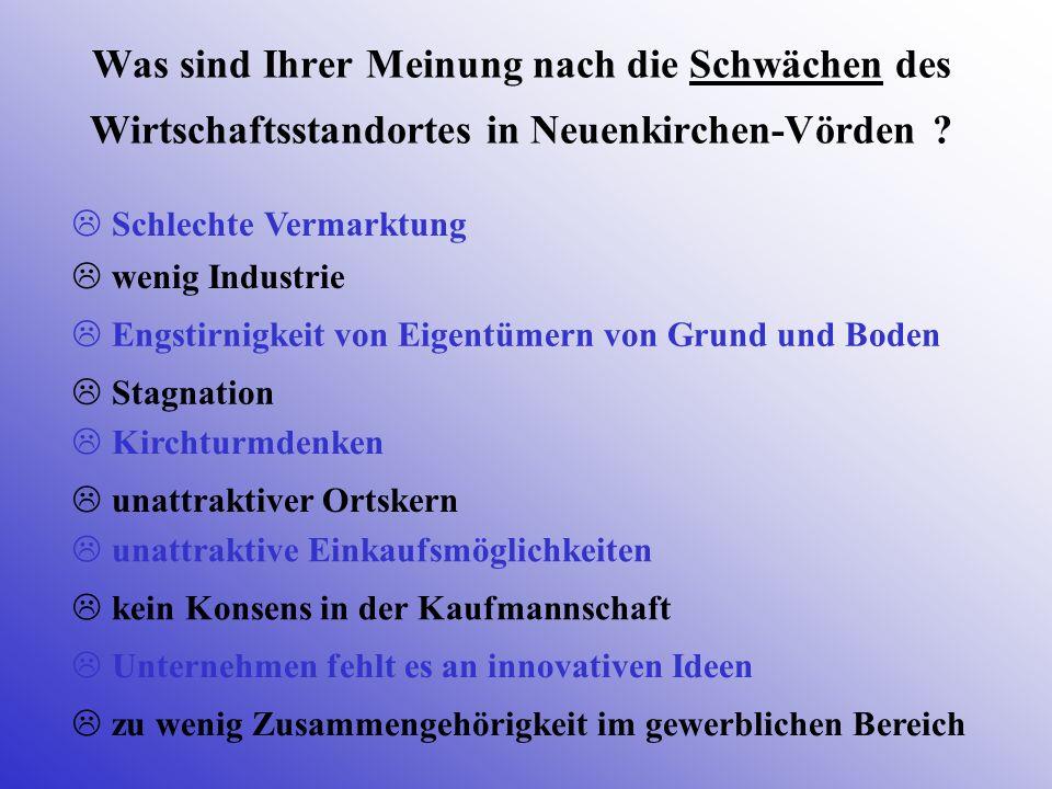 Was sind Ihrer Meinung nach die Schwächen des Wirtschaftsstandortes in Neuenkirchen-Vörden