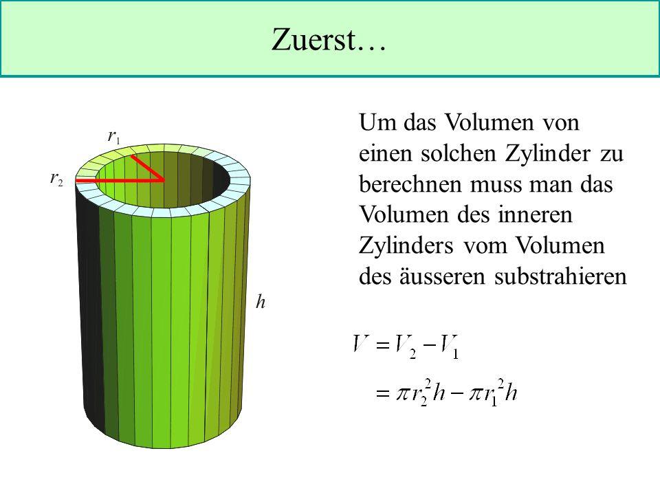 Zuerst… Um das Volumen von einen solchen Zylinder zu berechnen muss man das Volumen des inneren Zylinders vom Volumen des äusseren substrahieren.