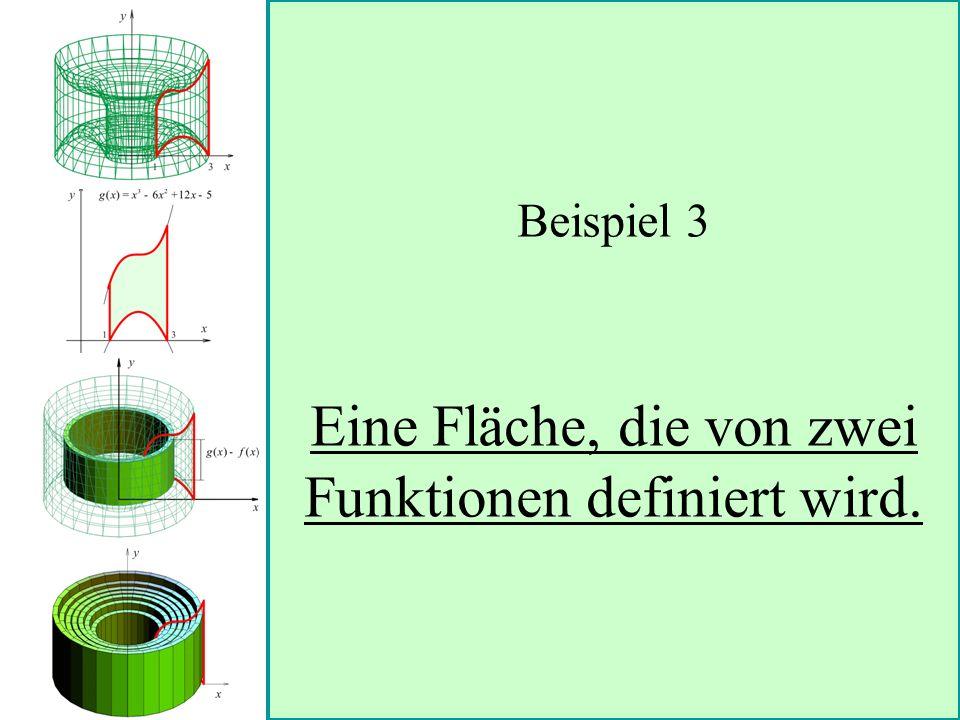 Beispiel 3 Eine Fläche, die von zwei Funktionen definiert wird.