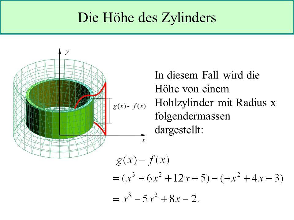 Die Höhe des Zylinders In diesem Fall wird die Höhe von einem Hohlzylinder mit Radius x folgendermassen dargestellt: