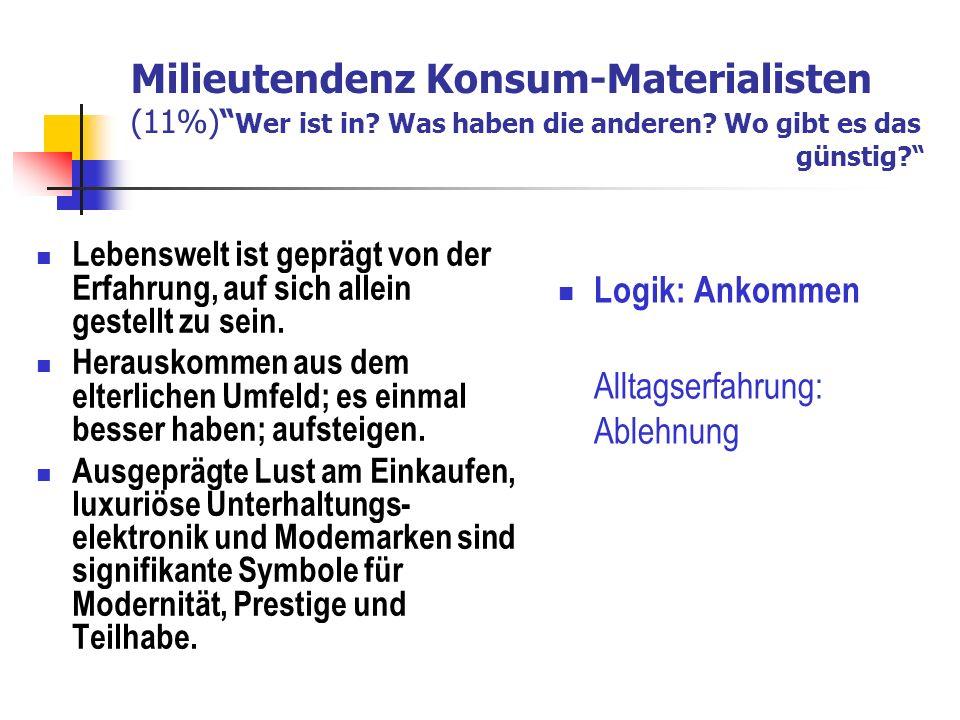 Milieutendenz Konsum-Materialisten (11%) Wer ist in