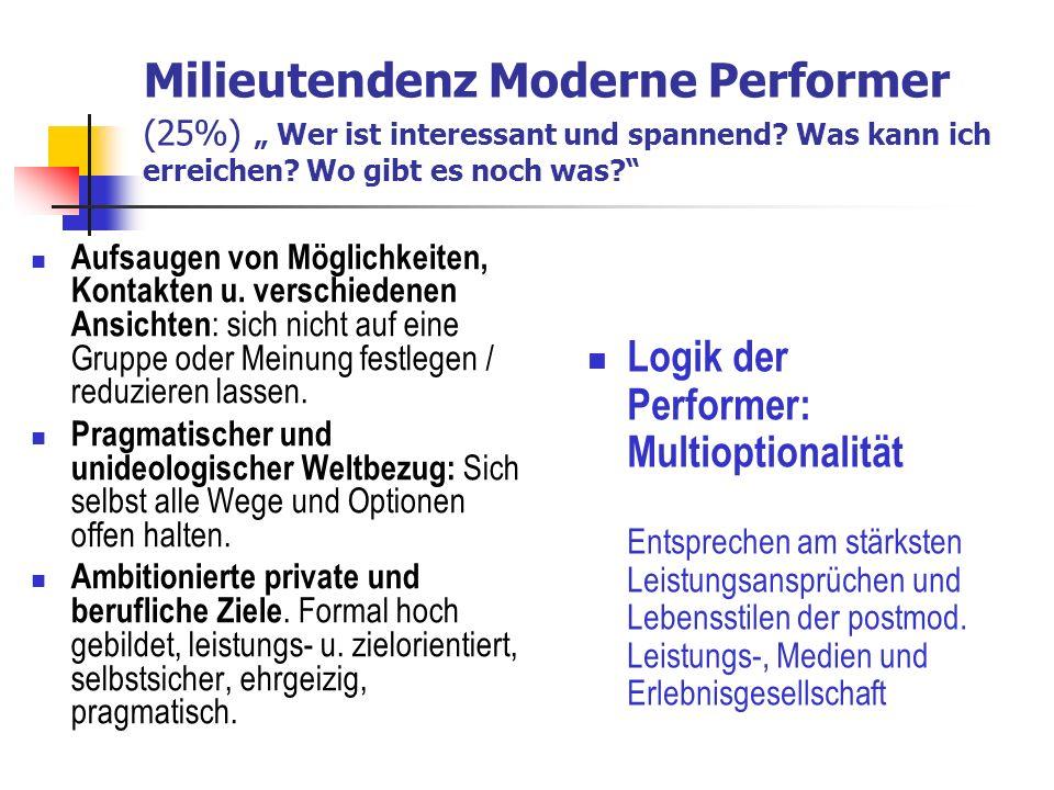 """Milieutendenz Moderne Performer (25%) """" Wer ist interessant und spannend Was kann ich erreichen Wo gibt es noch was"""
