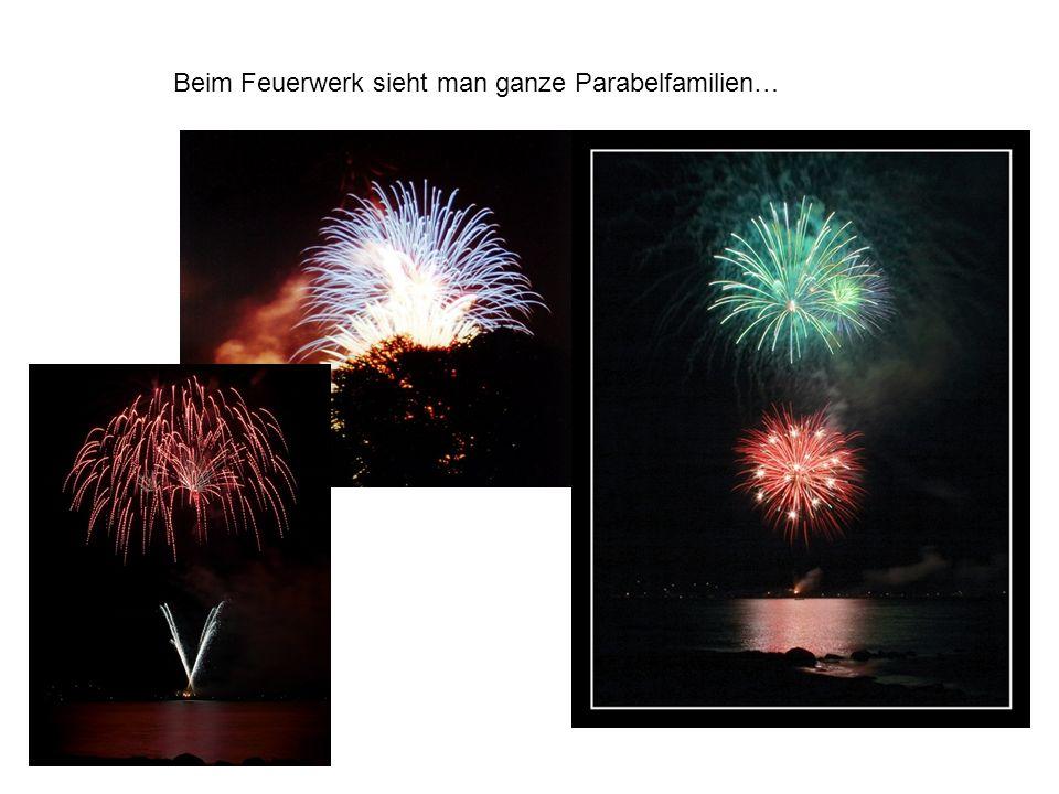 Beim Feuerwerk sieht man ganze Parabelfamilien…