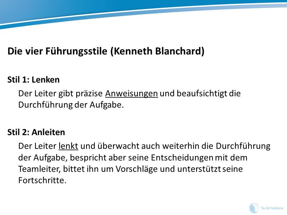 Die vier Führungsstile (Kenneth Blanchard)