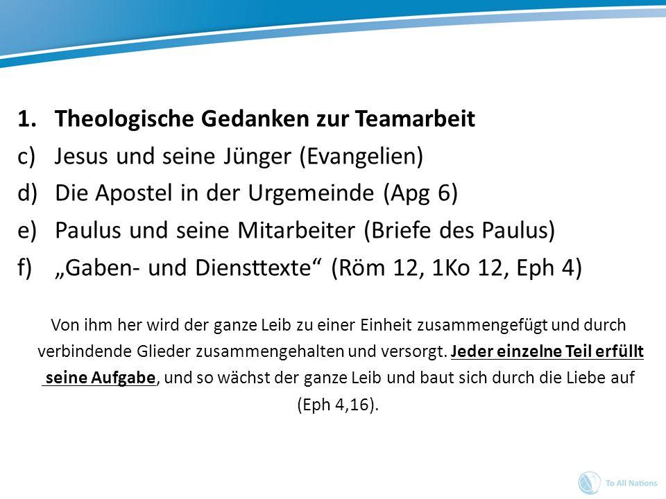 Theologische Gedanken zur Teamarbeit