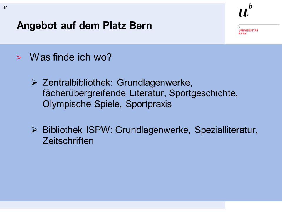 Angebot auf dem Platz Bern
