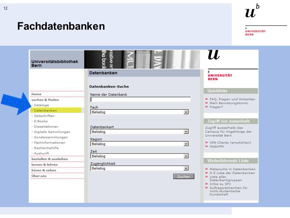 Fachdatenbanken Einstieg in die Datenbankliste auf der Homepage der UB.