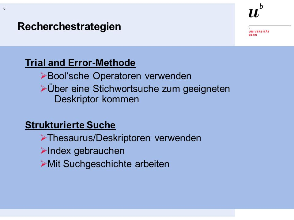 Recherchestrategien Trial and Error-Methode