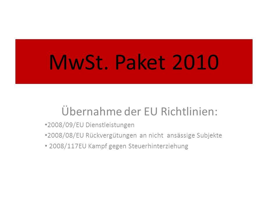 Übernahme der EU Richtlinien: