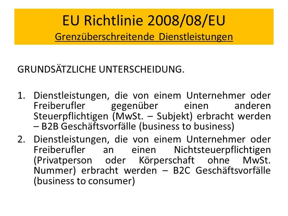 EU Richtlinie 2008/08/EU Grenzüberschreitende Dienstleistungen