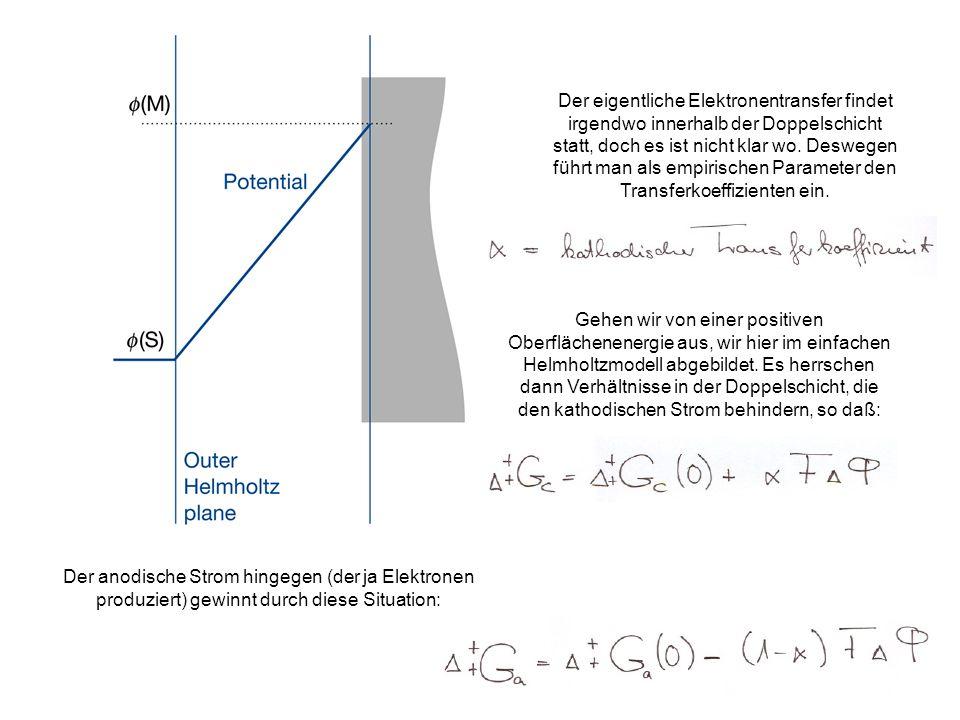 Der eigentliche Elektronentransfer findet irgendwo innerhalb der Doppelschicht statt, doch es ist nicht klar wo. Deswegen führt man als empirischen Parameter den Transferkoeffizienten ein.