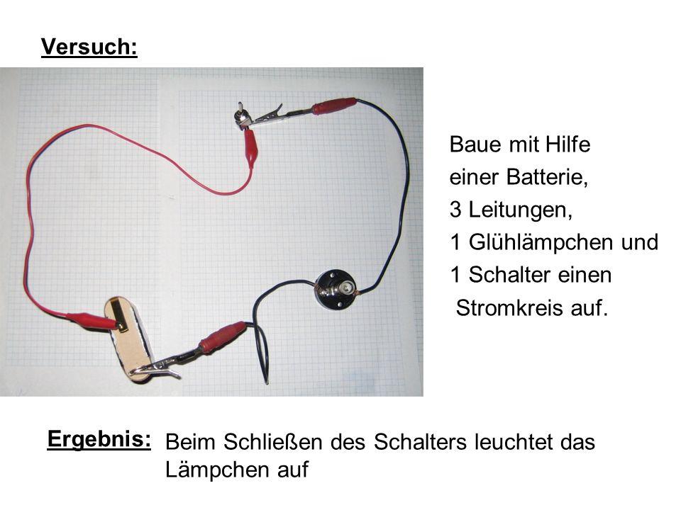 Versuch:Baue mit Hilfe. einer Batterie, 3 Leitungen, 1 Glühlämpchen und. 1 Schalter einen. Stromkreis auf.