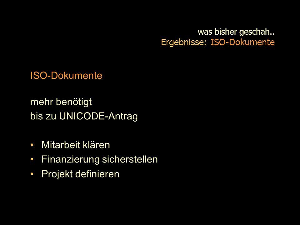was bisher geschah.. Ergebnisse: ISO-Dokumente
