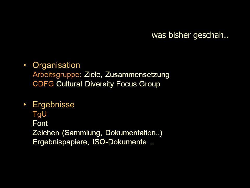 was bisher geschah.. Organisation Arbeitsgruppe: Ziele, Zusammensetzung CDFG Cultural Diversity Focus Group.