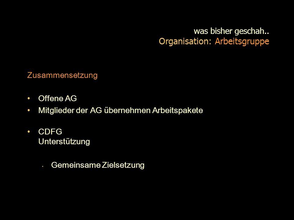 was bisher geschah.. Organisation: Arbeitsgruppe
