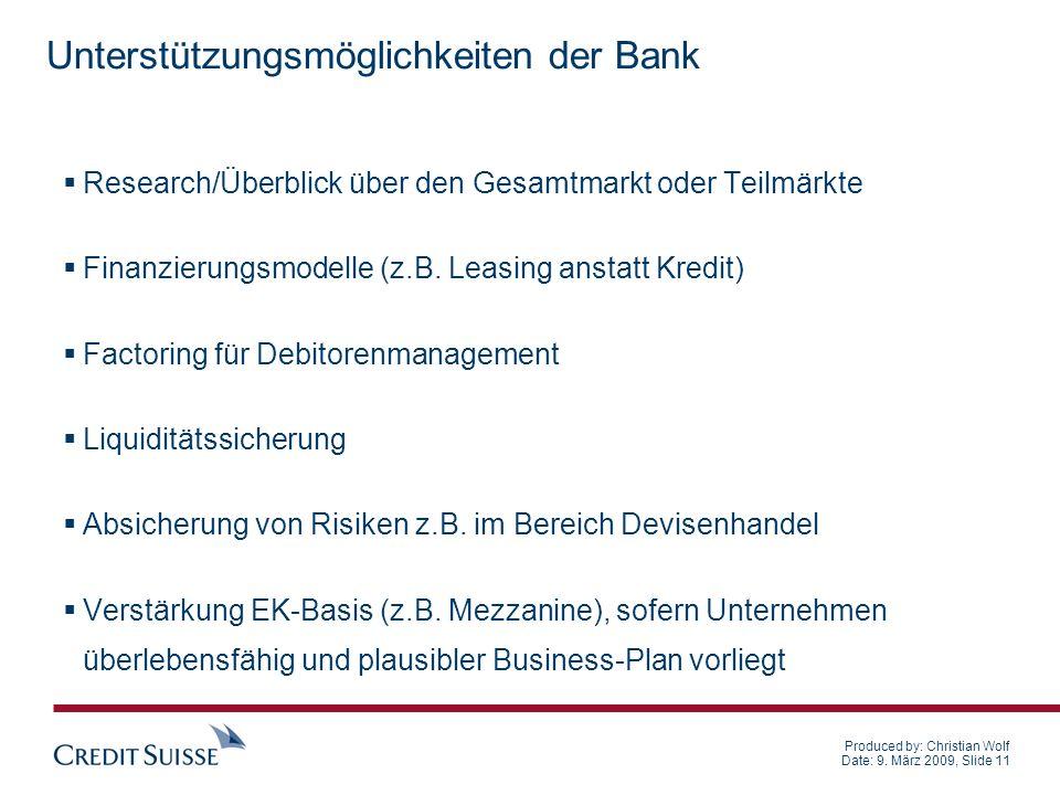 Unterstützungsmöglichkeiten der Bank