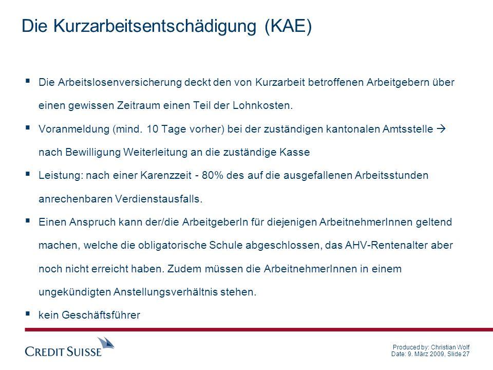 Die Kurzarbeitsentschädigung (KAE)