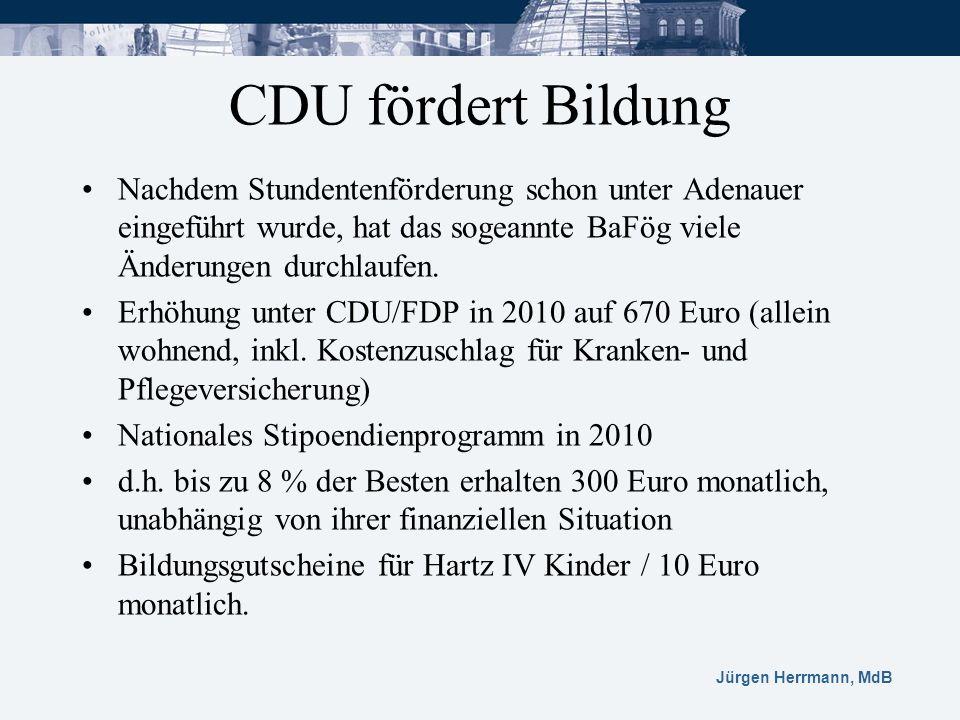 CDU fördert Bildung Nachdem Stundentenförderung schon unter Adenauer eingeführt wurde, hat das sogeannte BaFög viele Änderungen durchlaufen.