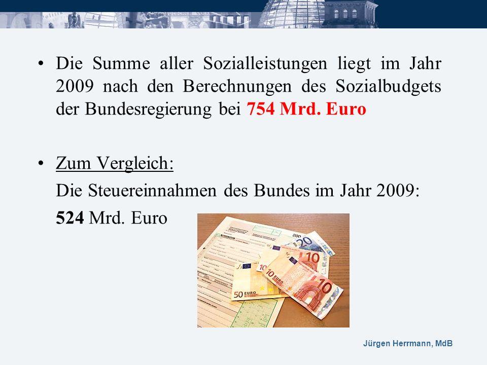 Die Summe aller Sozialleistungen liegt im Jahr 2009 nach den Berechnungen des Sozialbudgets der Bundesregierung bei 754 Mrd. Euro