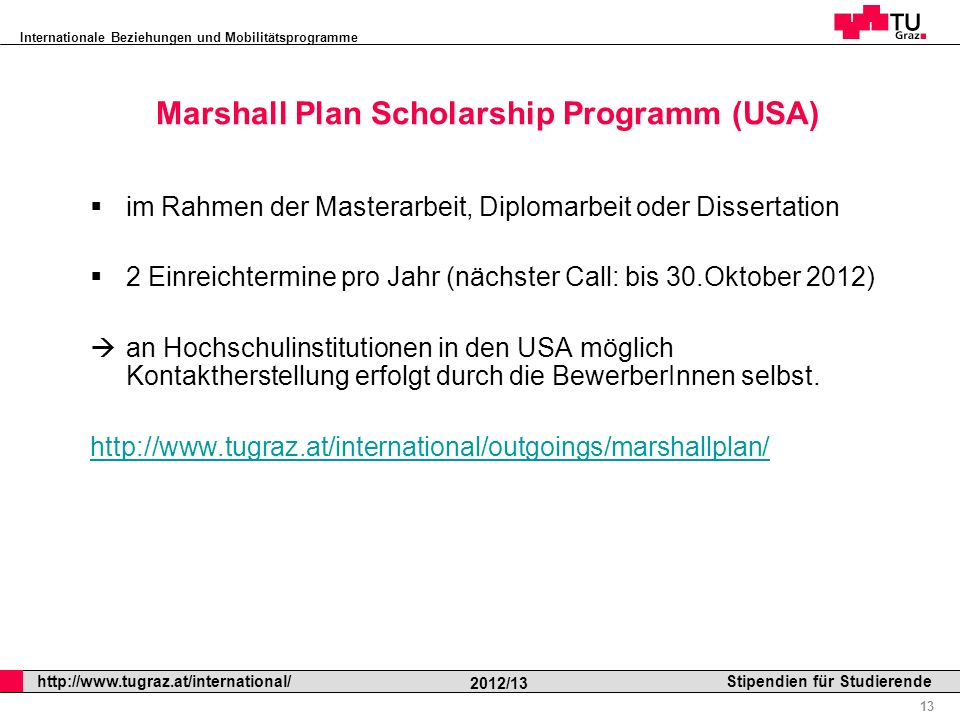Marshall Plan Scholarship Programm (USA)