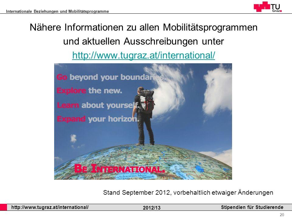 Nähere Informationen zu allen Mobilitätsprogrammen