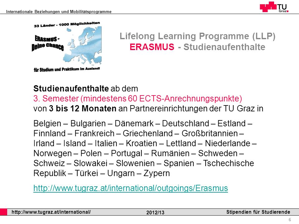 Lifelong Learning Programme (LLP) ERASMUS - Studienaufenthalte