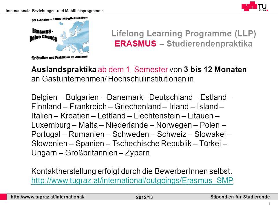 Lifelong Learning Programme (LLP) ERASMUS – Studierendenpraktika
