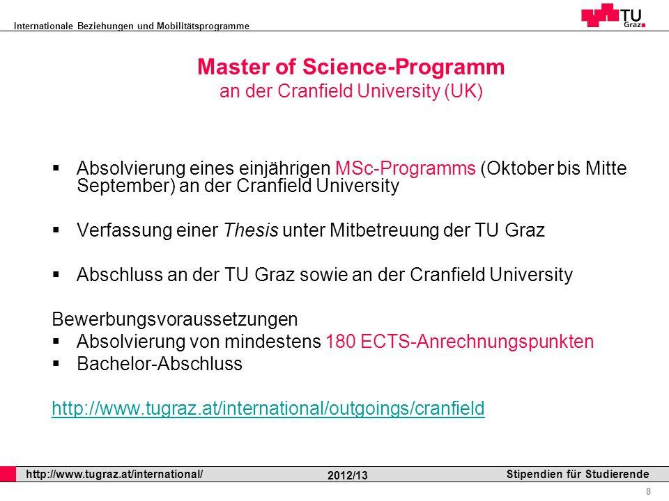 Master of Science-Programm an der Cranfield University (UK)