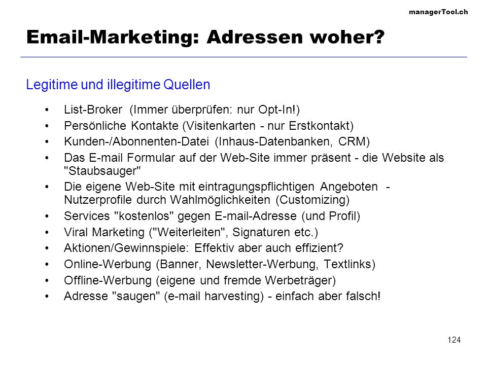 Email-Marketing: Adressen woher
