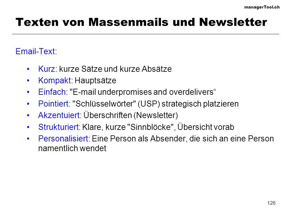 Texten von Massenmails und Newsletter