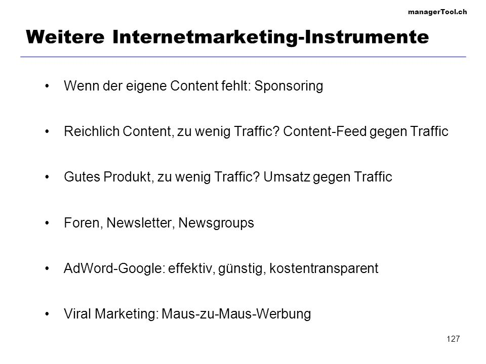 Weitere Internetmarketing-Instrumente