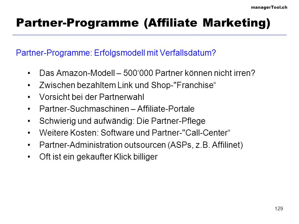 Partner-Programme (Affiliate Marketing)