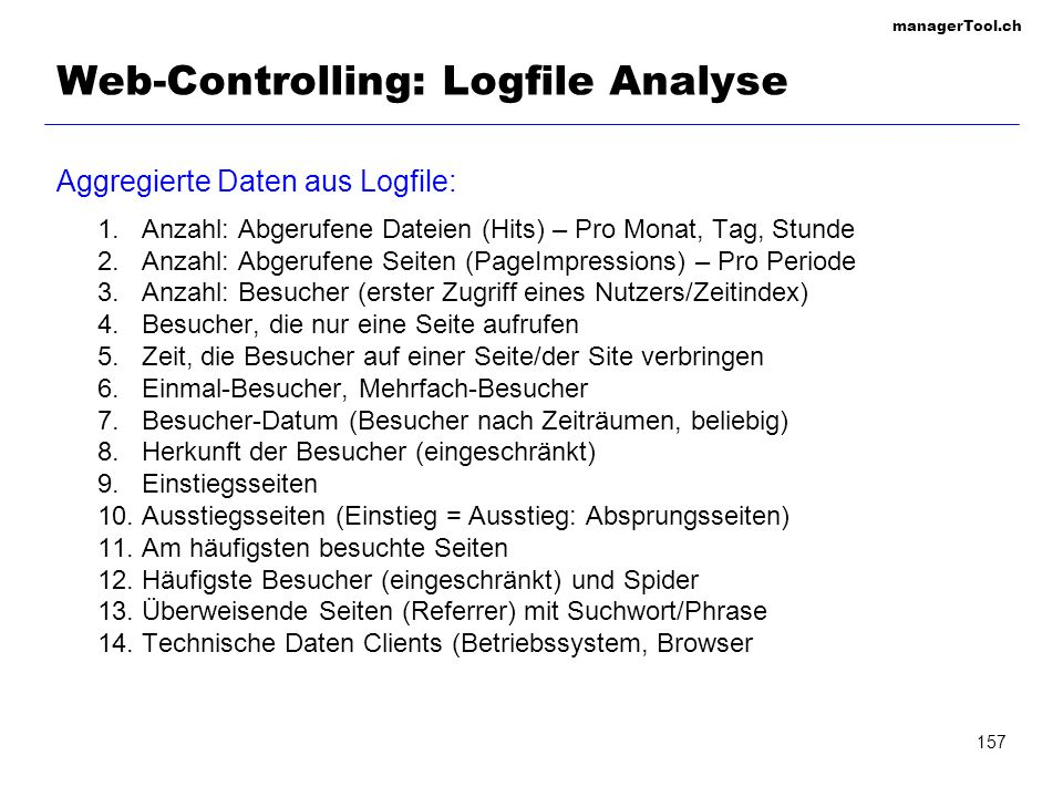 Web-Controlling: Logfile Analyse