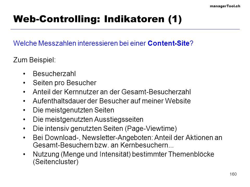Web-Controlling: Indikatoren (1)