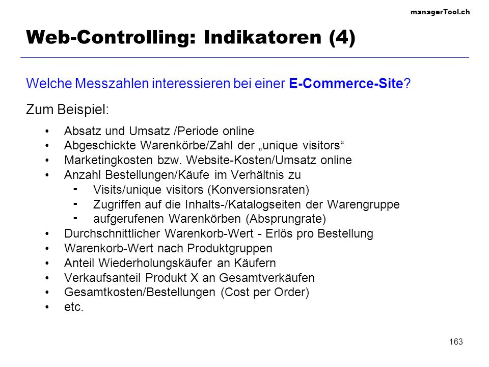 Web-Controlling: Indikatoren (4)