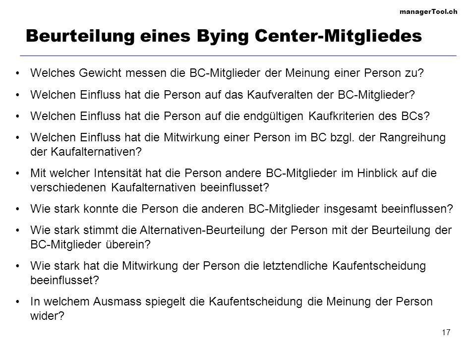 Beurteilung eines Bying Center-Mitgliedes