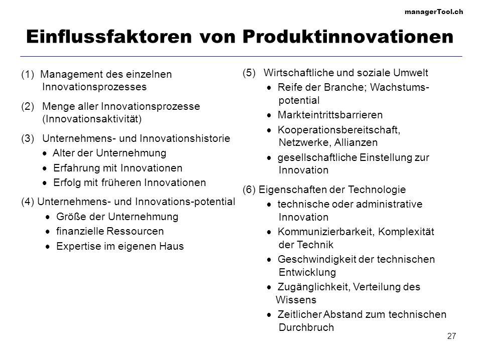 Einflussfaktoren von Produktinnovationen
