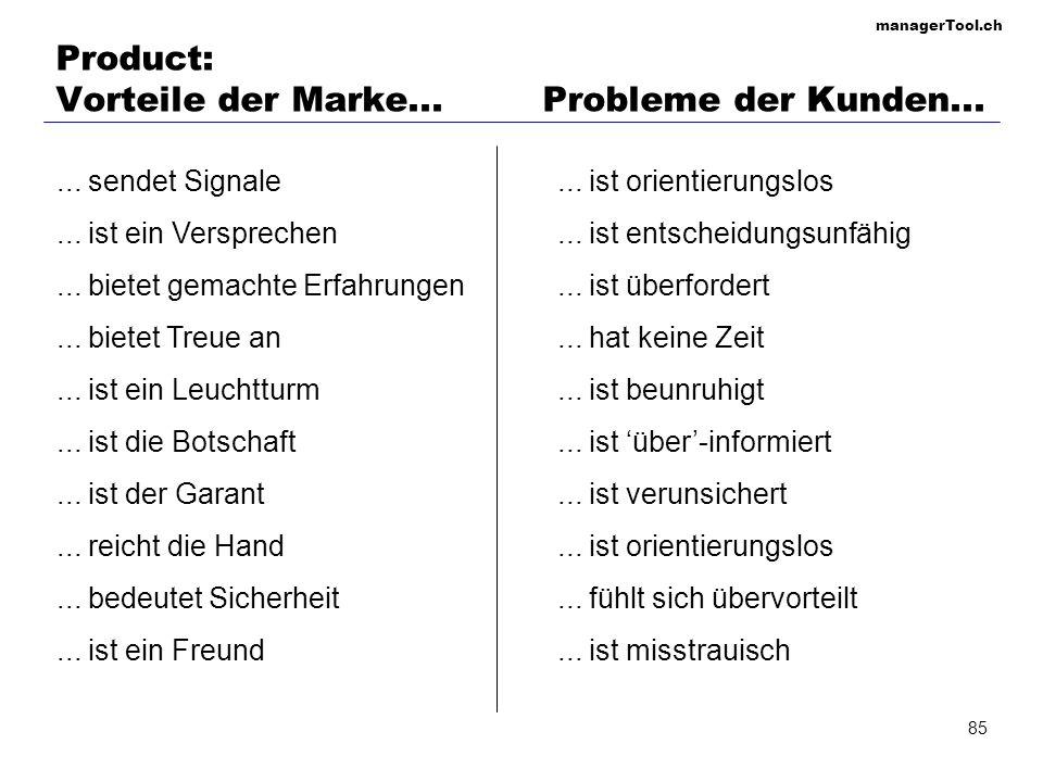 Product: Vorteile der Marke... Probleme der Kunden...