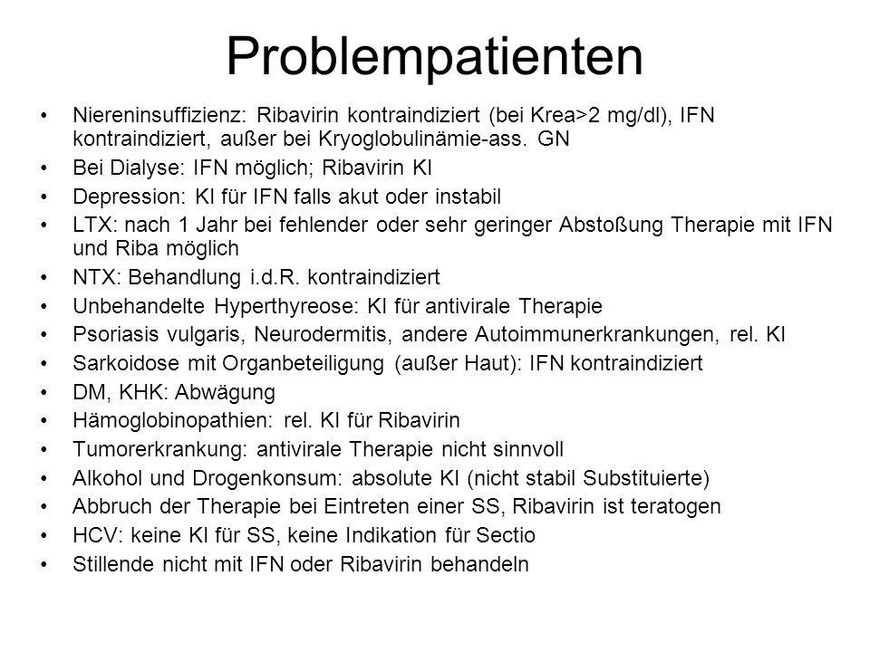 Problempatienten Niereninsuffizienz: Ribavirin kontraindiziert (bei Krea>2 mg/dl), IFN kontraindiziert, außer bei Kryoglobulinämie-ass. GN.