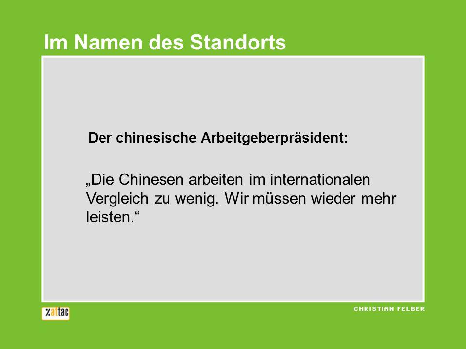Im Namen des Standorts Der chinesische Arbeitgeberpräsident: