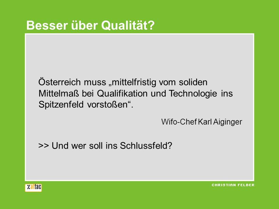 """Besser über Qualität Österreich muss """"mittelfristig vom soliden Mittelmaß bei Qualifikation und Technologie ins Spitzenfeld vorstoßen ."""