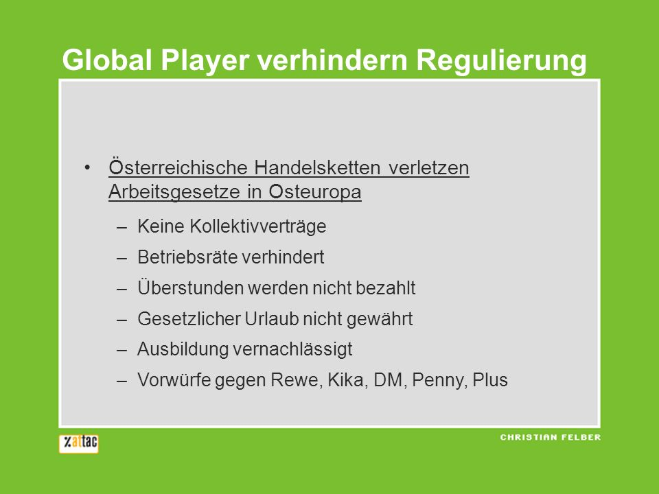Global Player verhindern Regulierung