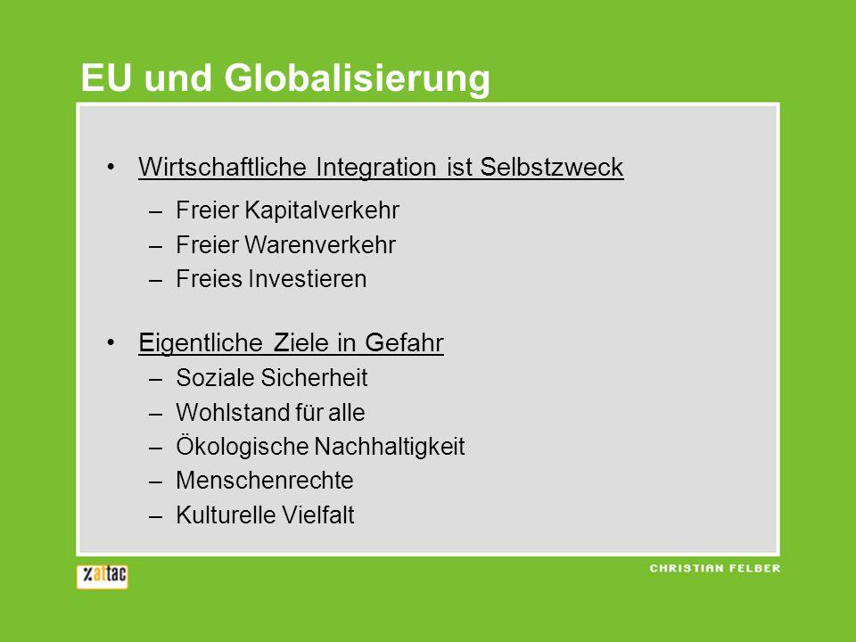 EU und Globalisierung Wirtschaftliche Integration ist Selbstzweck
