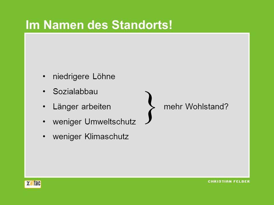 } Im Namen des Standorts! niedrigere Löhne Sozialabbau
